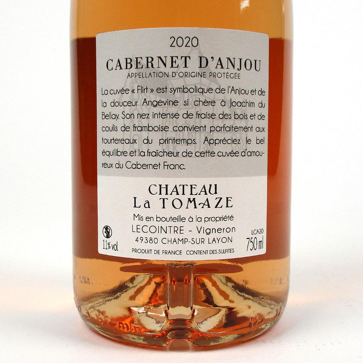 Cabernet d'Anjou: Château La Tomaze Rosé 2020 - Bottle Rear Label