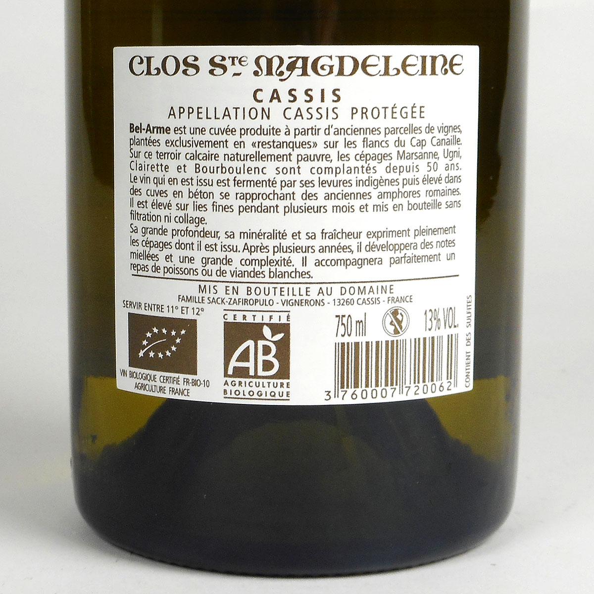 Cassis: Clos Sainte Magdeleine 'Bel-Arme' Blanc 2018 - Bottle Rear Label