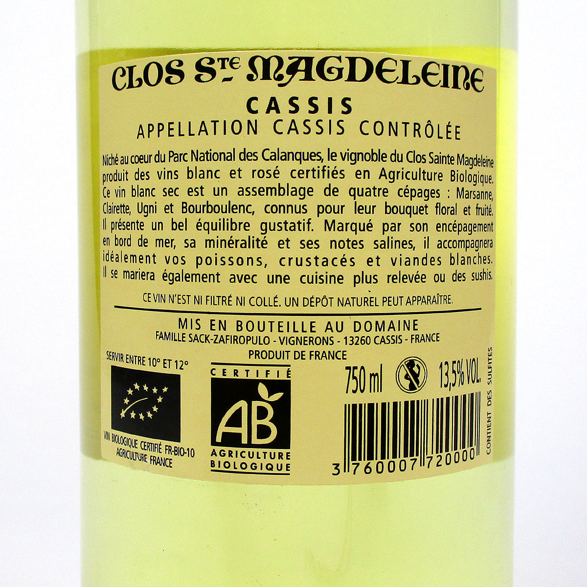 Cassis: Clos Sainte Magdeleine Blanc 2019 - Bottle Rear Label