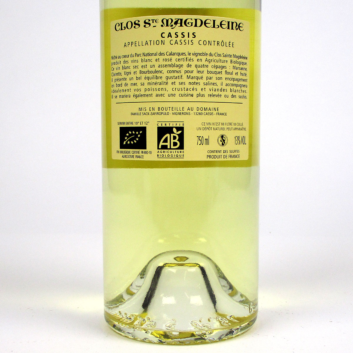Cassis: Clos Sainte Magdeleine Blanc 2020 - Rear Label