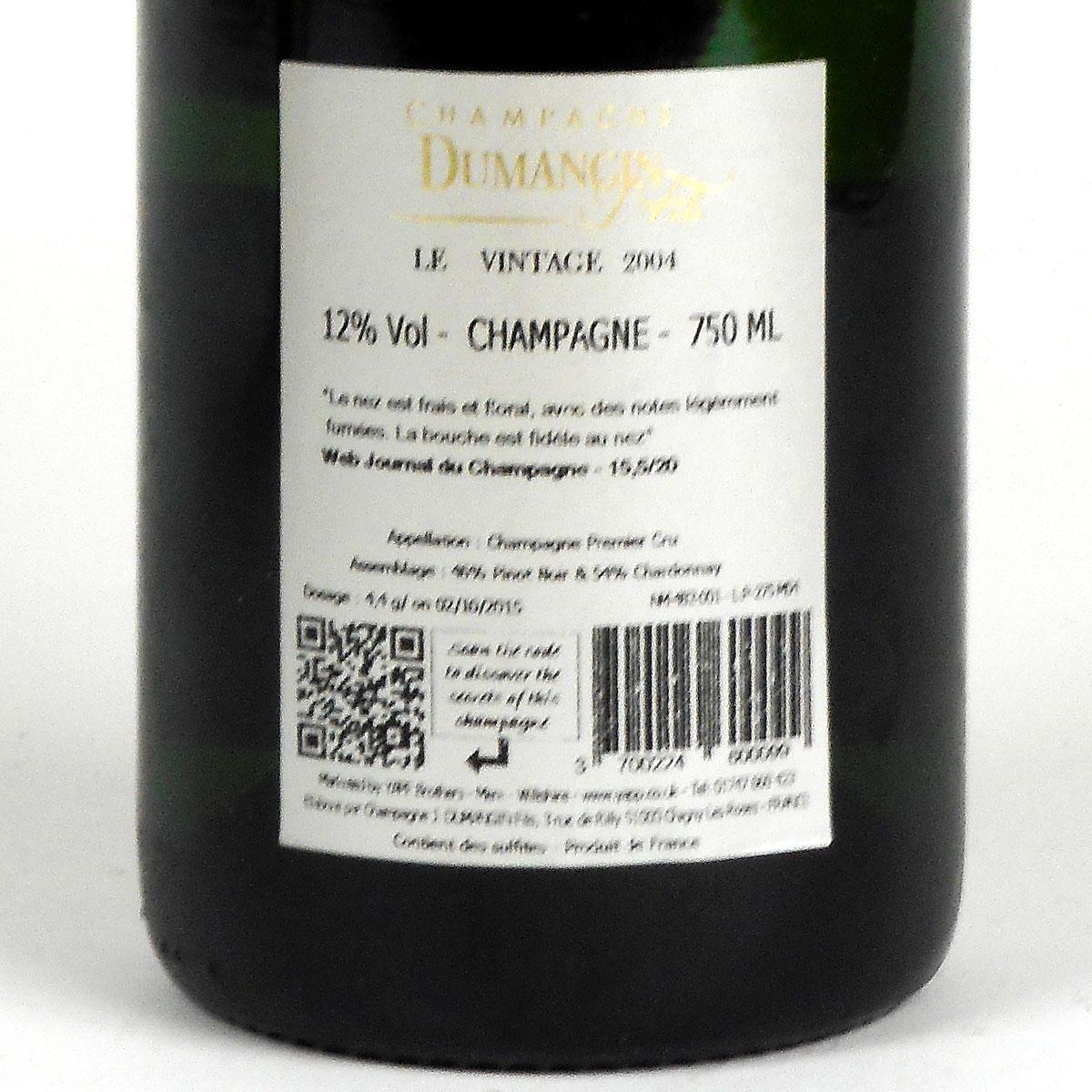 Champagne: Dumangin Fils. Premier Cru Brut Vintage 2004 - Bottle Rear Label