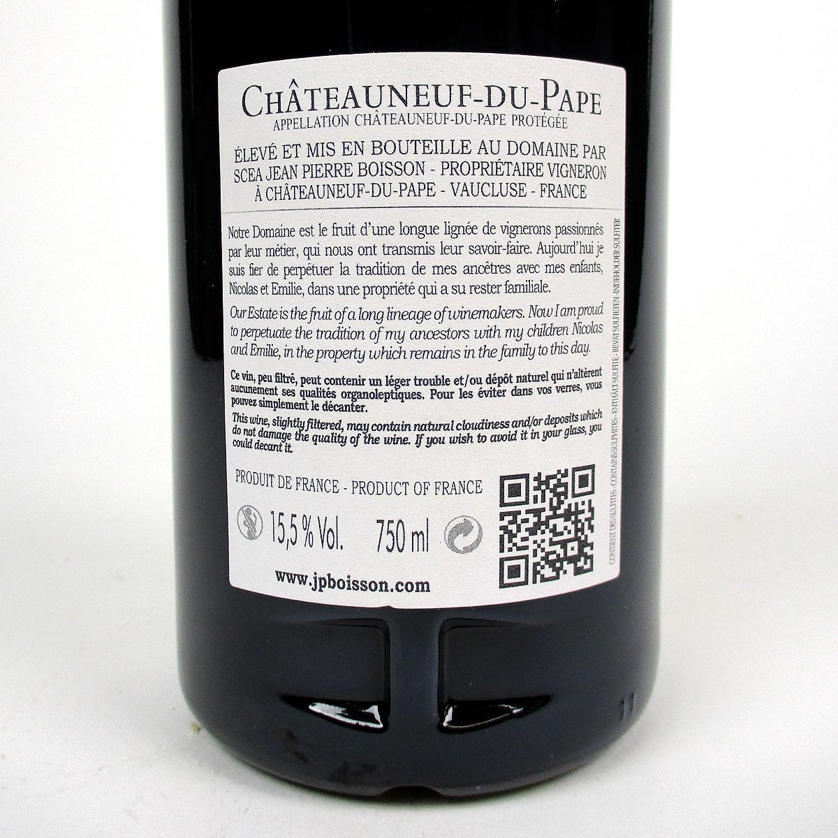 Châteauneuf du Pape: Domaine du Père Caboche Rouge 2019 - Bottle Rear Label