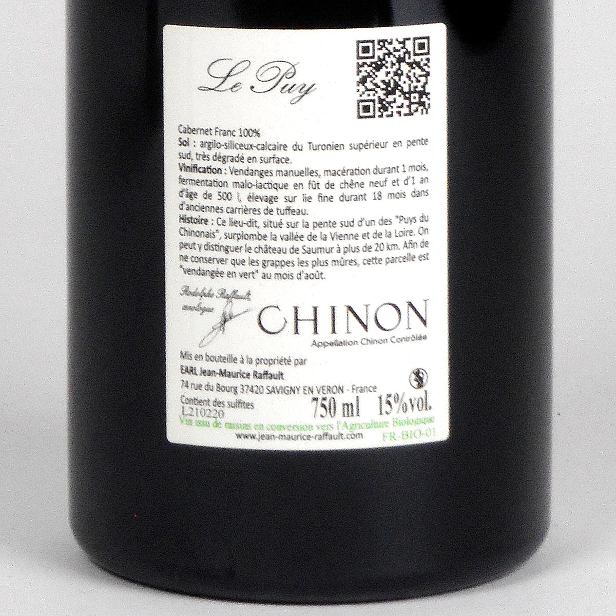 Chinon: Domaine Jean-Maurice Raffault 'Le Puy' Rouge 2018 - Bottle Rear Label