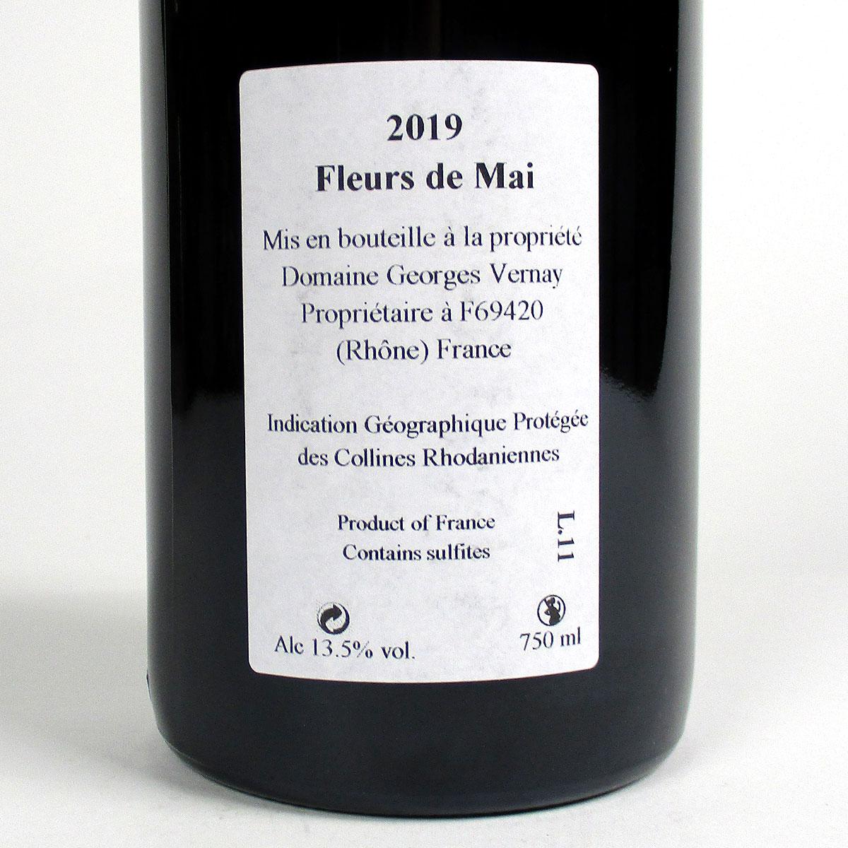 Collines Rhodaniennes: Domaine Georges Vernay 'Fleurs de Mai' Syrah 2019 - Bottle rear Label