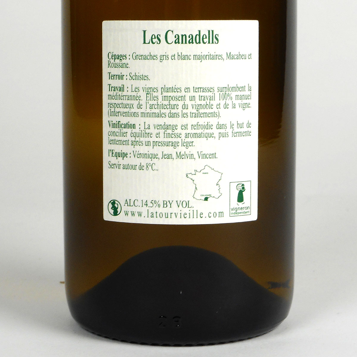 Collioure: Domaine La Tour Vieille 'Les Canadells' 2019 - Bottle Rear Label