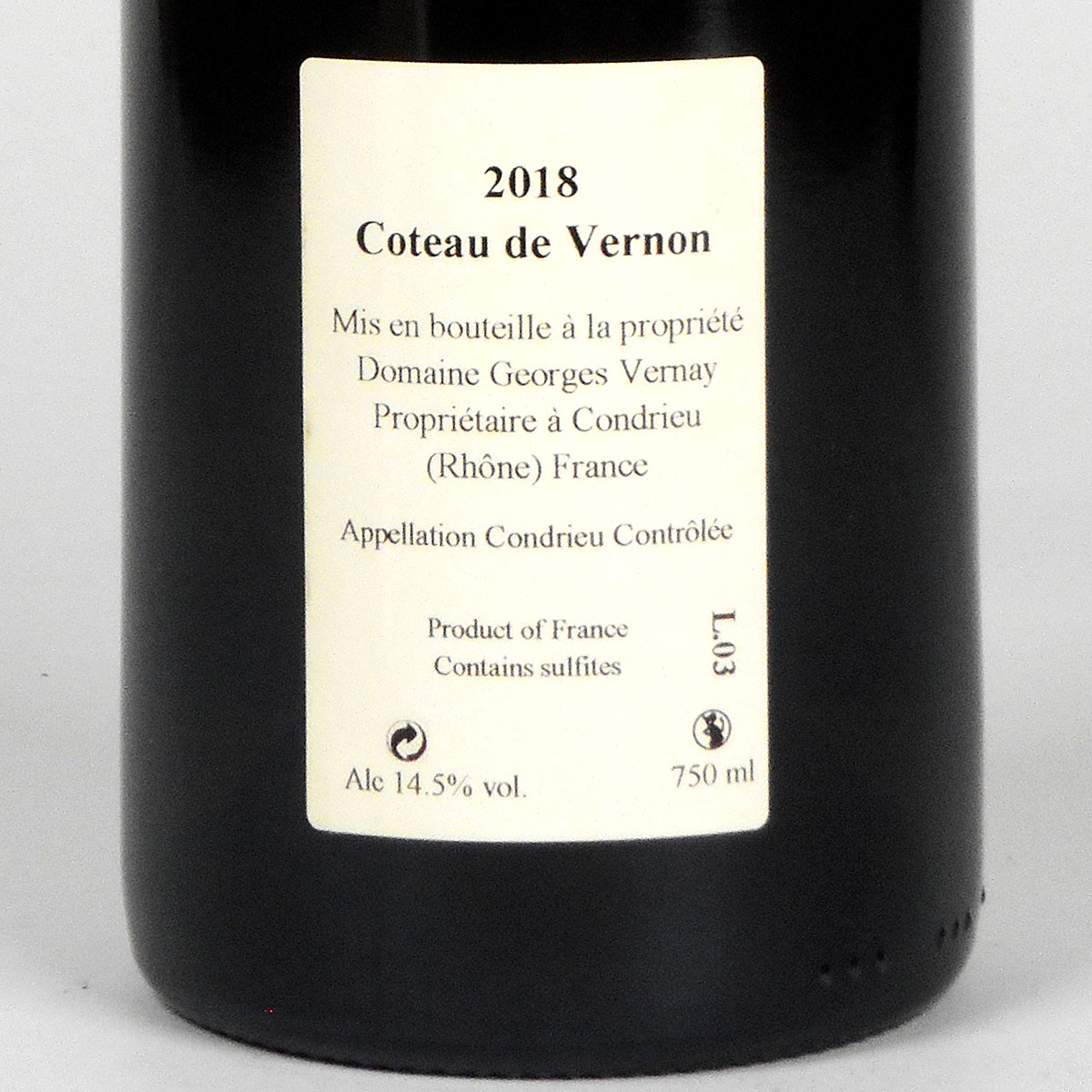 Condrieu: Domaine Georges Vernay 'Coteau de Vernon' 2018 - Bottle Rear Label