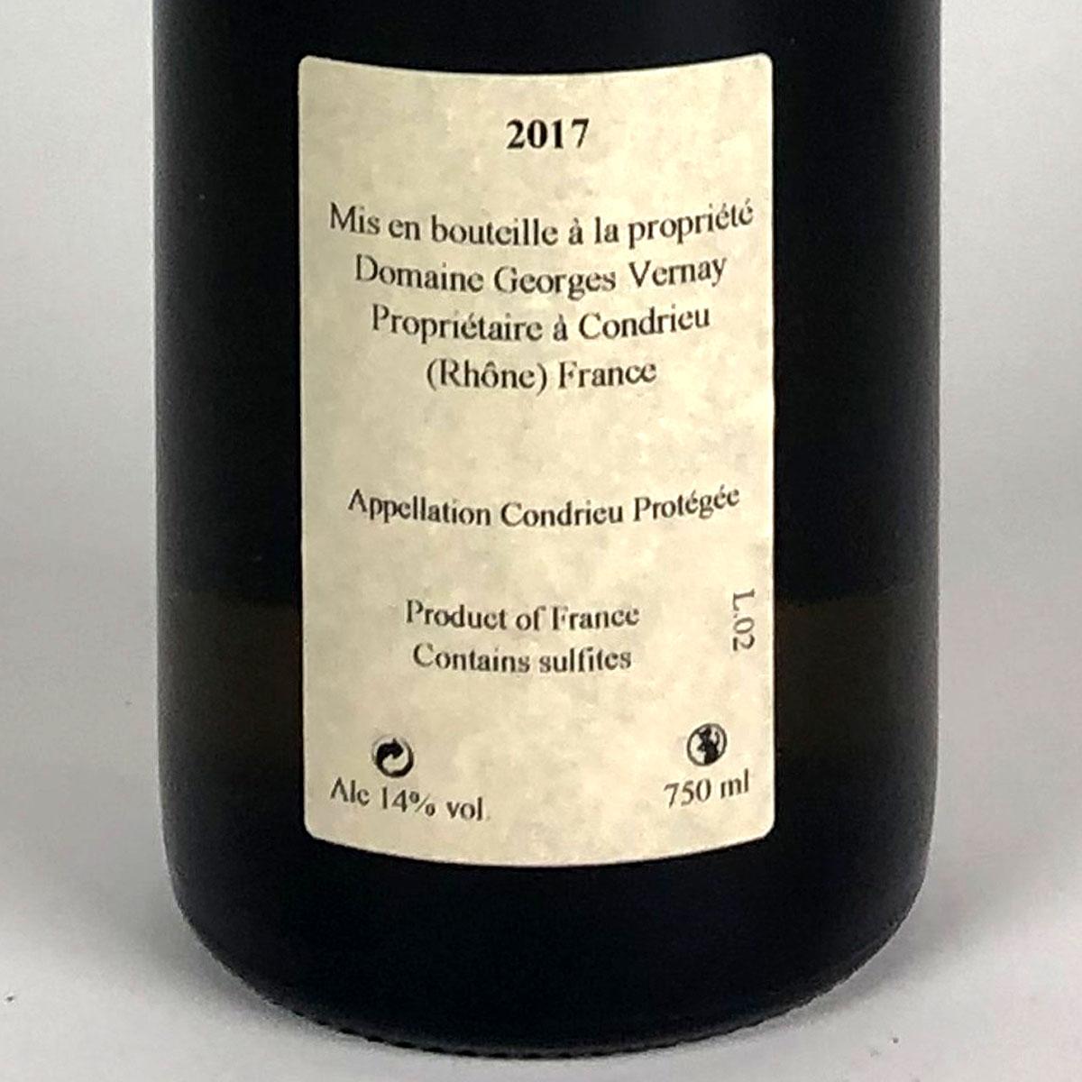 Condrieu: Domaine Georges Vernay 'Les Chaillées de l'Enfer' 2017 - Bottle Rear Label