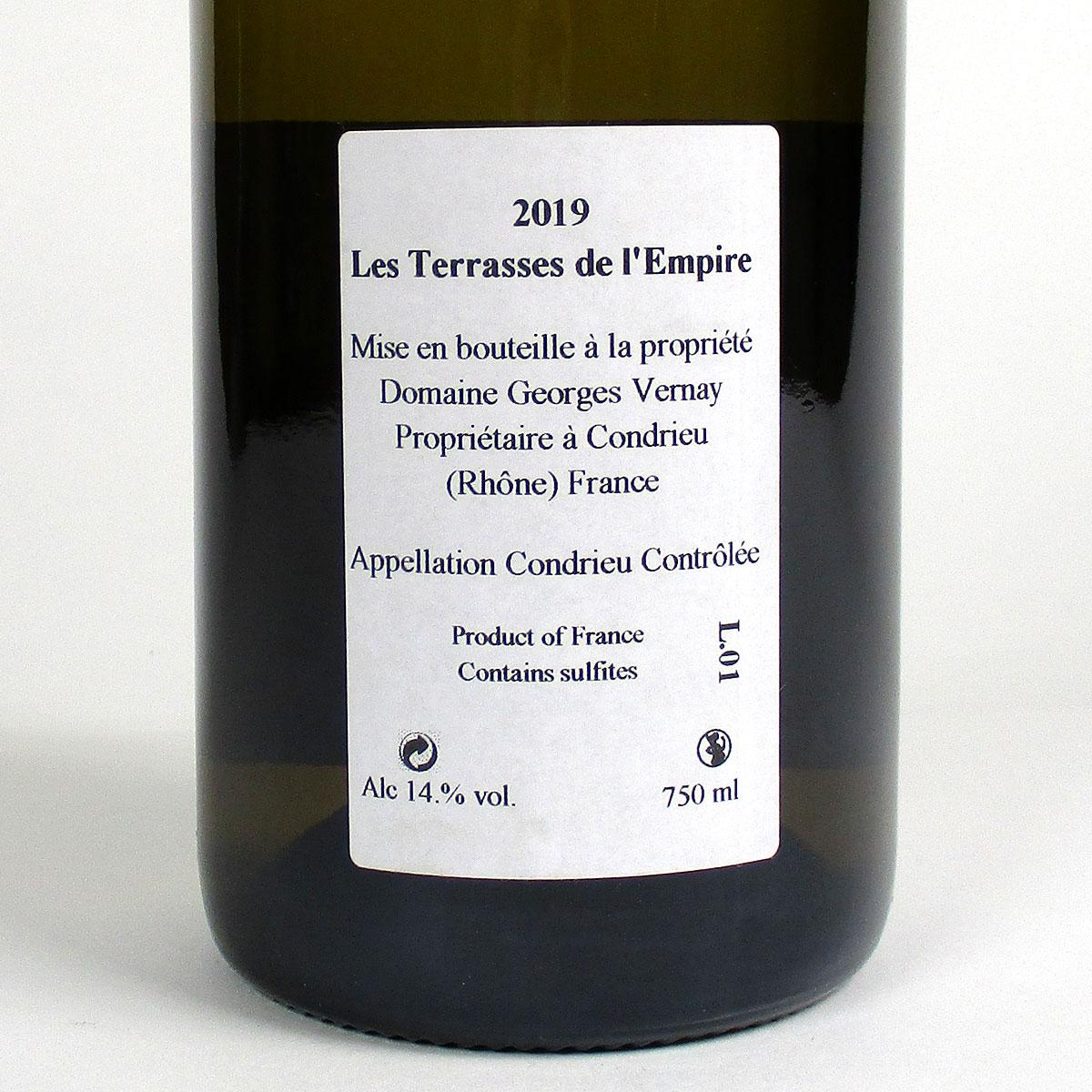 Condrieu: Domaine Georges Vernay 'Les Terrasses de l'Empire' 2019 - Bottle Rear Label
