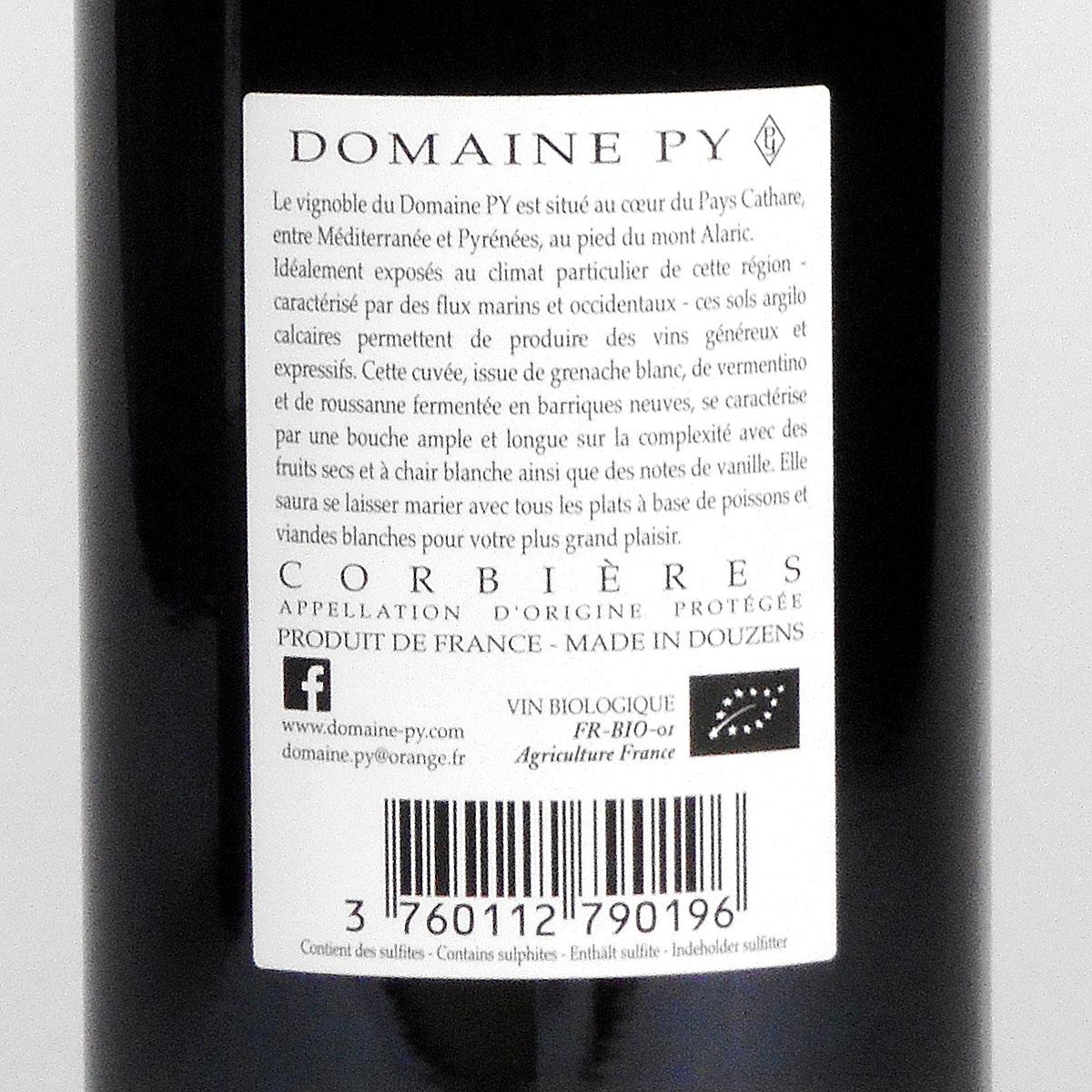 Corbières: Domaine Py '3ème Cuvée' Blanc 2018 - Bottle Rear Label