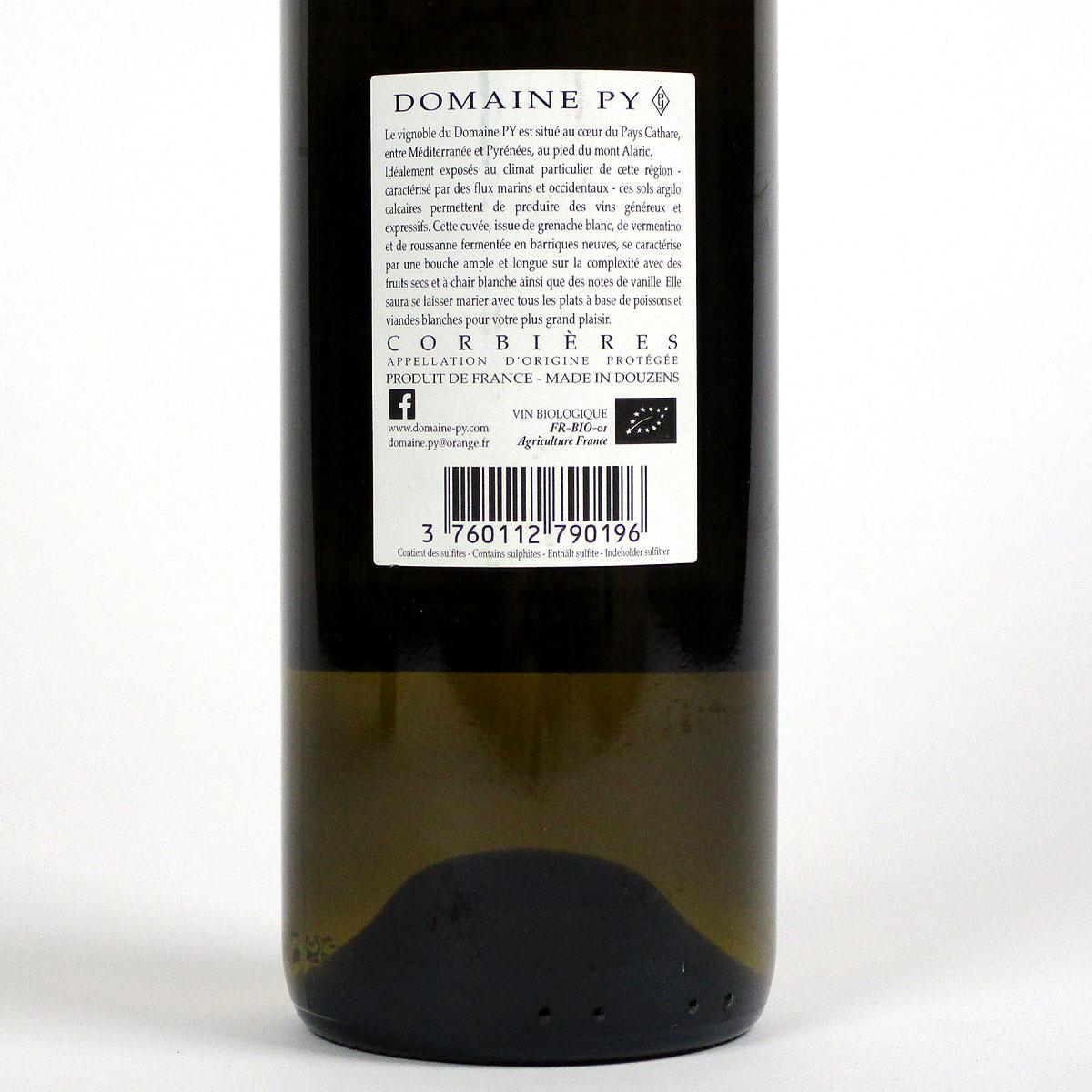 Corbières: Domaine Py '3ème Cuvée' Blanc 2019 - Bottle Rear Label