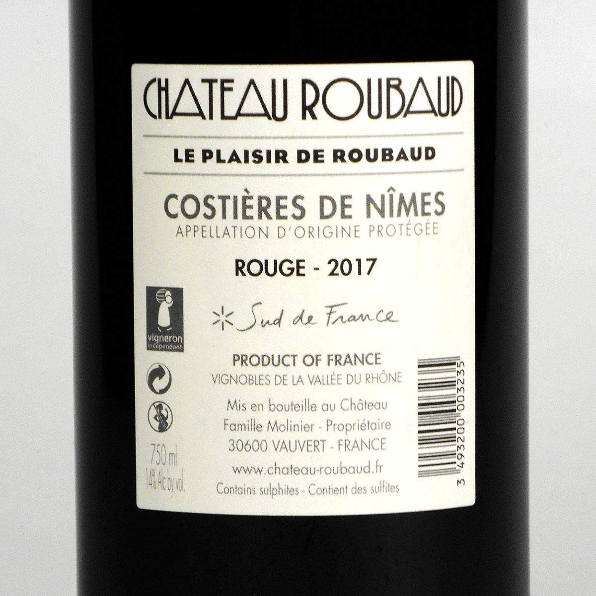 Costières de Nîmes: Château Roubaud Rouge 2017 - Bottle Rear Label