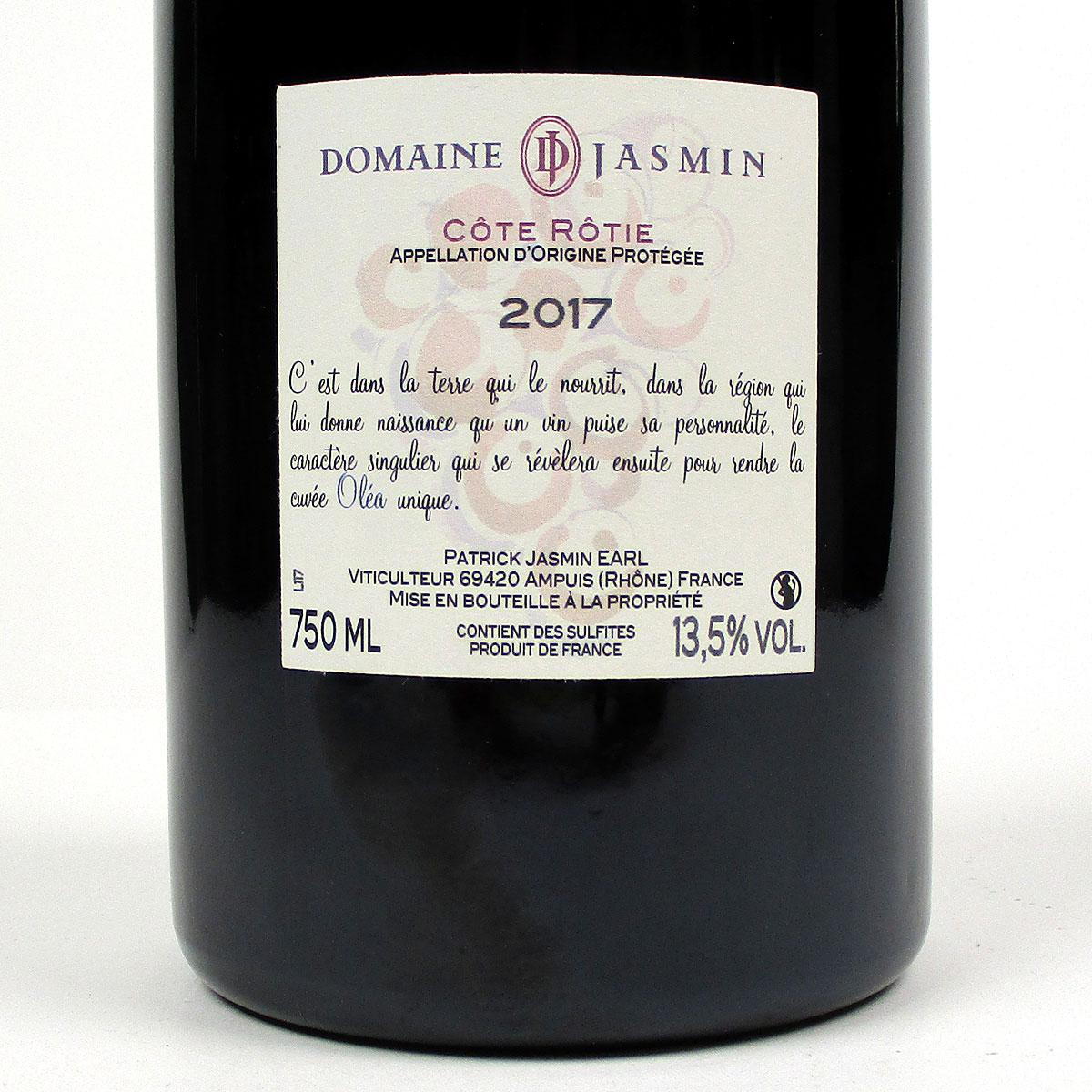 Côte Rôtie: Patrick Jasmin 'Oléa' 2017 - Bottle Rear Label