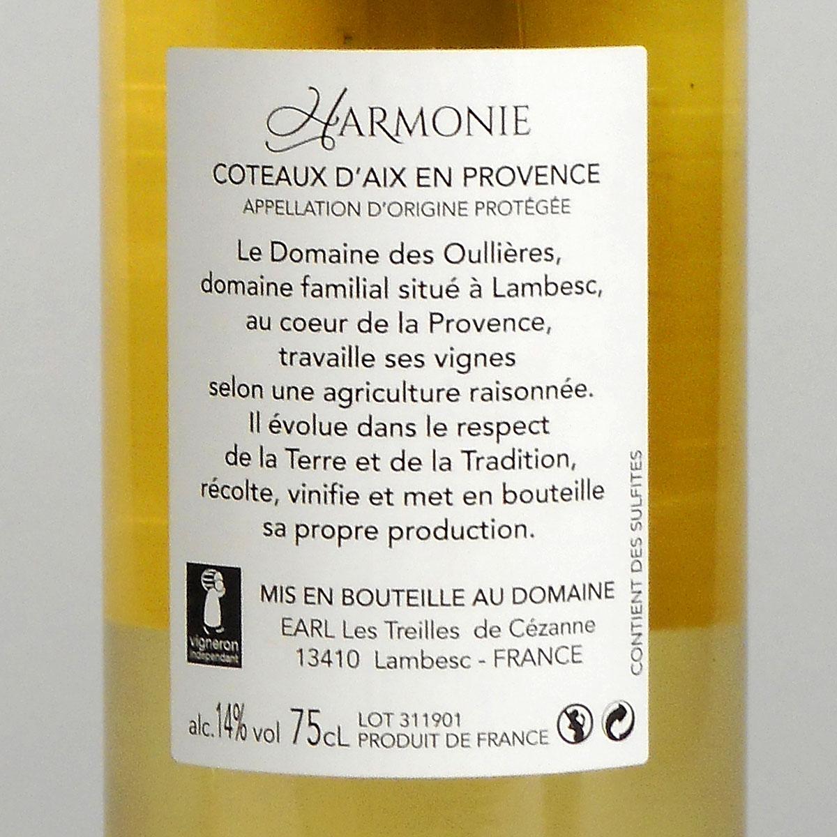 Coteaux d'Aix-en-Provence: Domaine des Oullières Blanc 2019 - Wine Bottle Rear Label