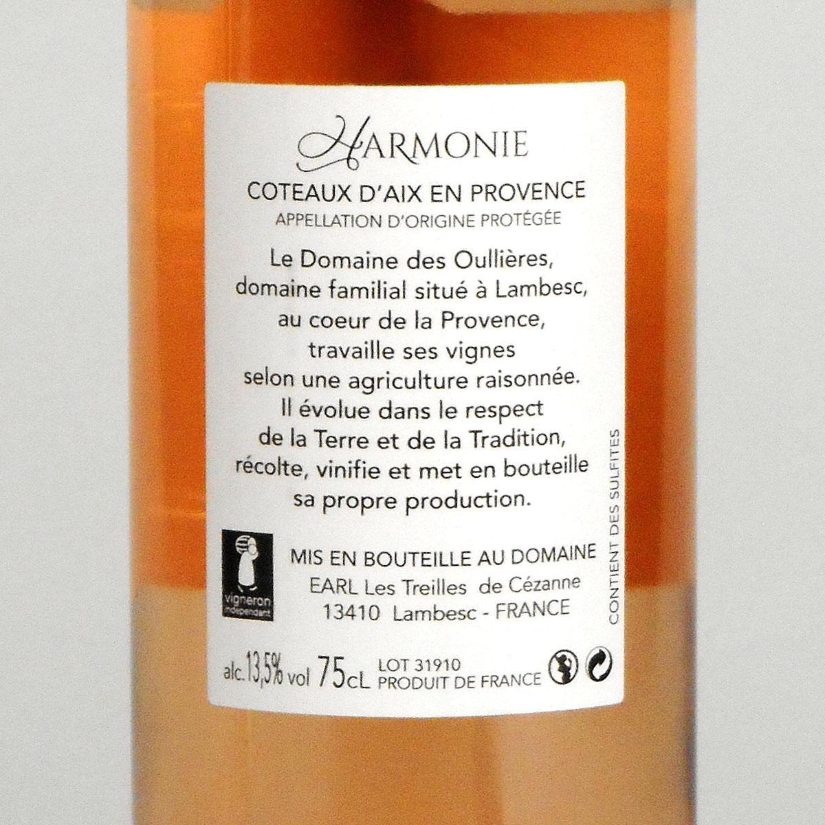 Coteaux d'Aix-en-Provence: Domaine des Oullières Rosé 2018 - Bottle Rear Label