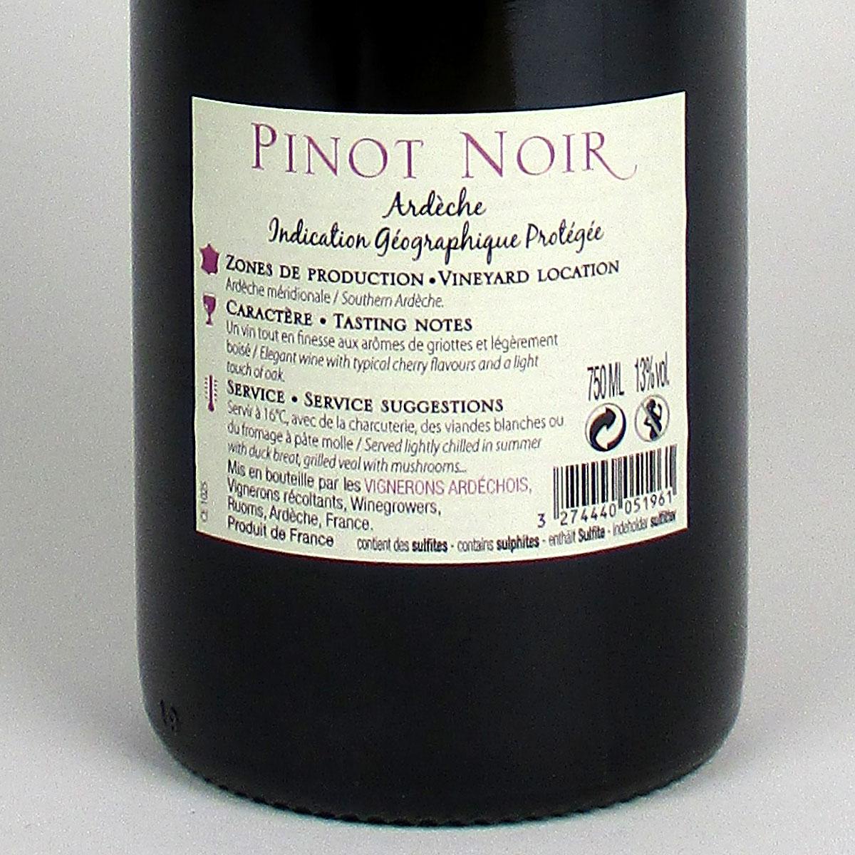 Coteaux de l'Ardèche: Cépage Pinot Noir 2018 - Bottle Rear Label