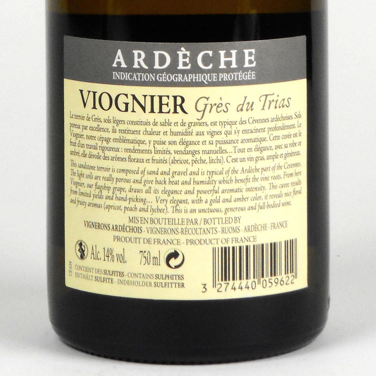 Coteaux de l'Ardèche: Cépage Viognier 'Grès du Trias' 2018 - Rear Label