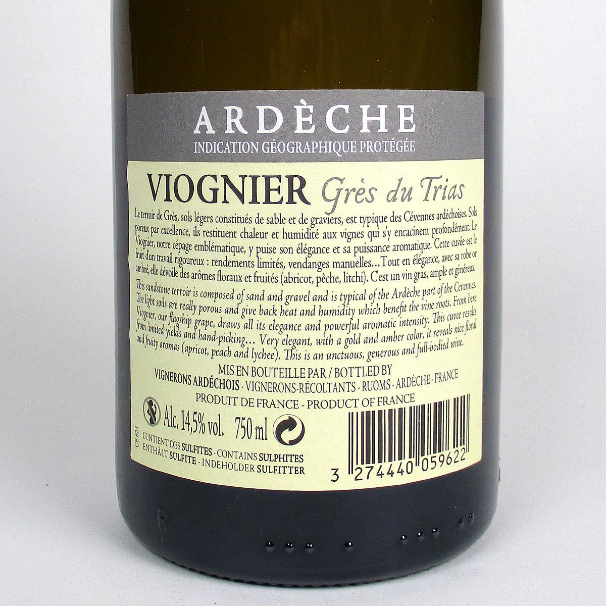 Coteaux de l'Ardèche: Cépage Viognier 'Grès du Trias' 2019 - Bottle Rear Label