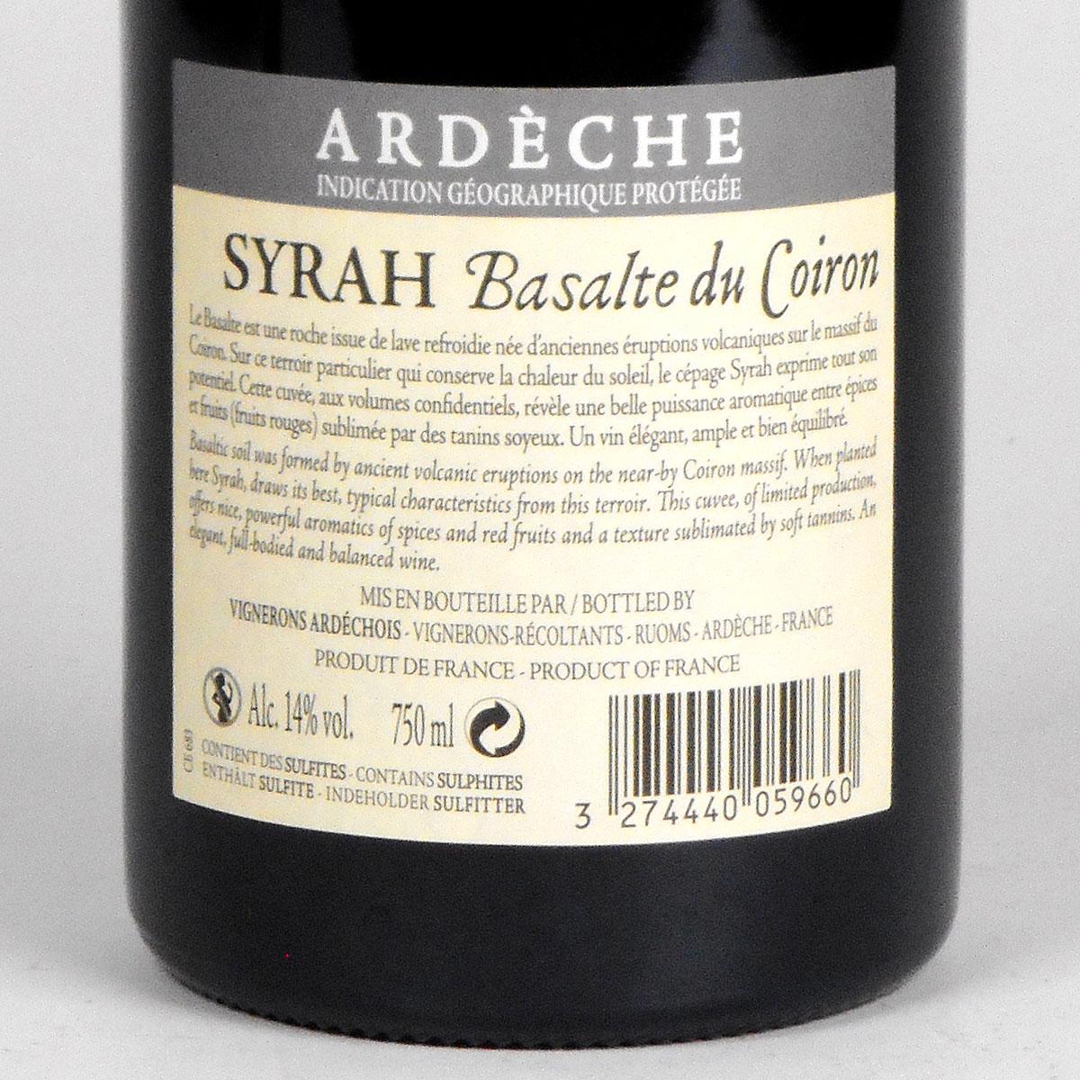 Coteaux de l'Ardèche: 'Basalte du Coiron' Syrah 2018 - Bottle Rear Label