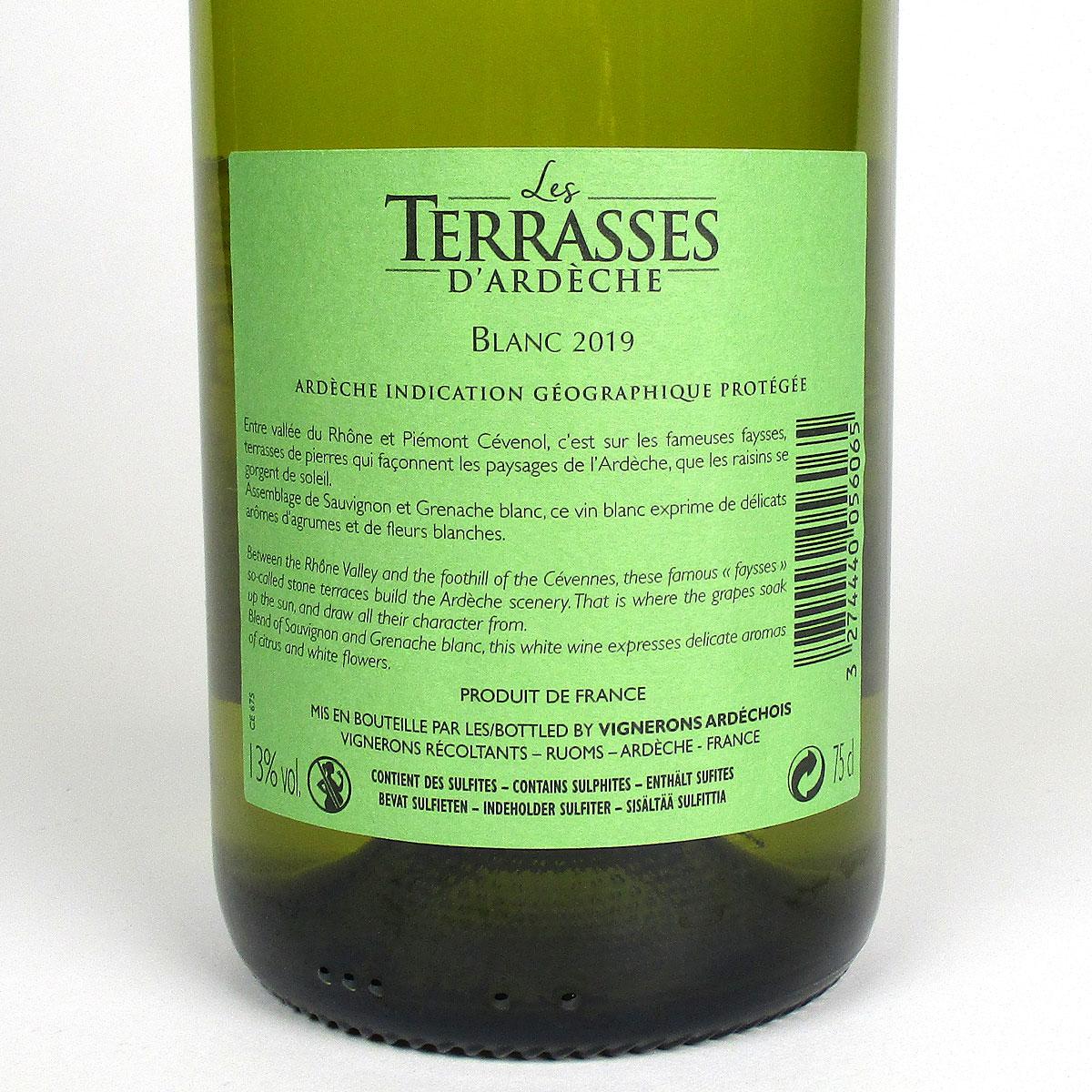 Coteaux de l'Ardèche: 'Les Terrasses' Blanc 2019 - Bottle Rear Label