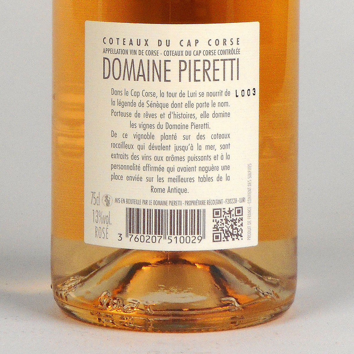 Coteaux du Cap Corse: Domaine Pieretti Rosé 2018 - Bottle Rear Label