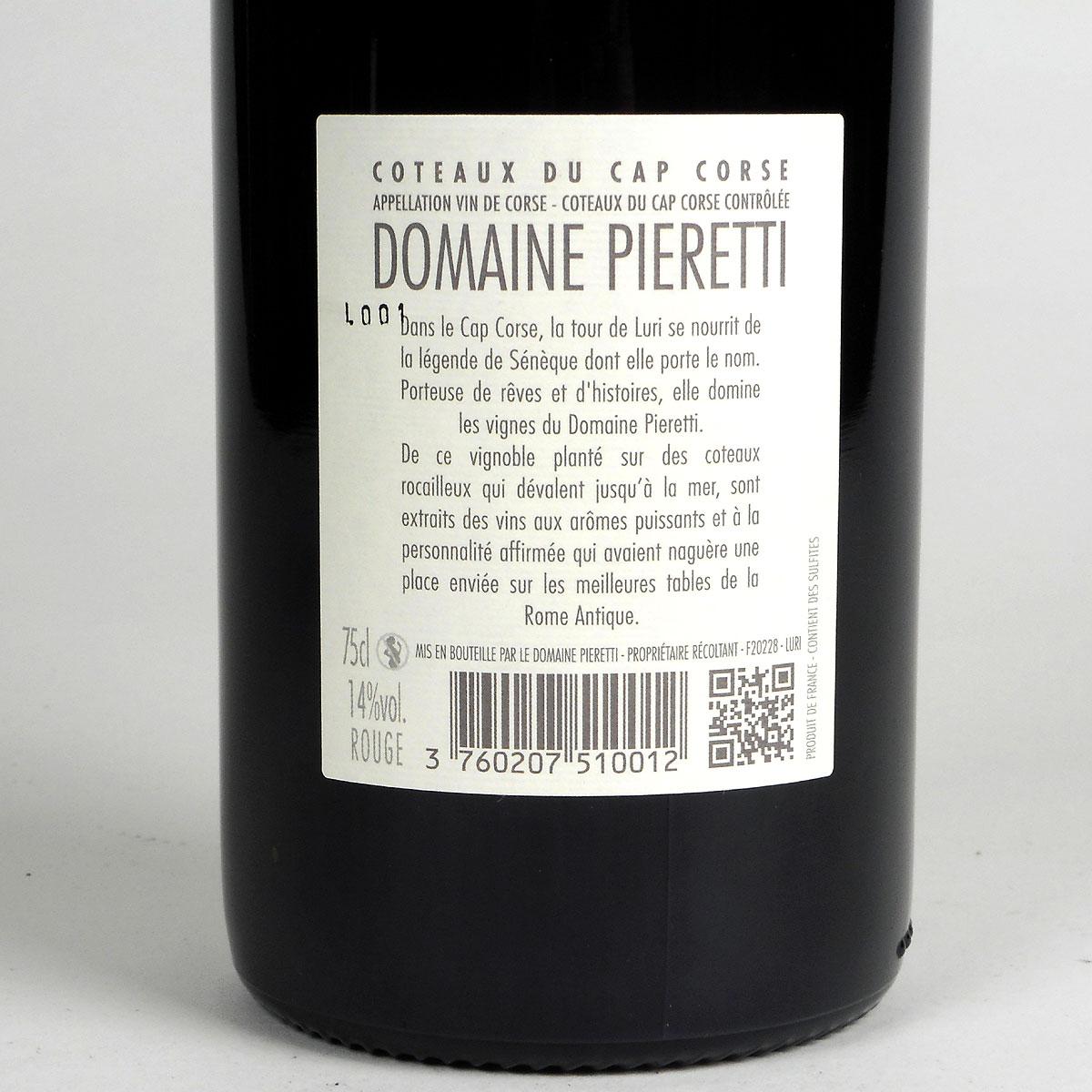 Coteaux du Cap Corse: Domaine Pieretti Rouge 2019 - Bottle Rear Label