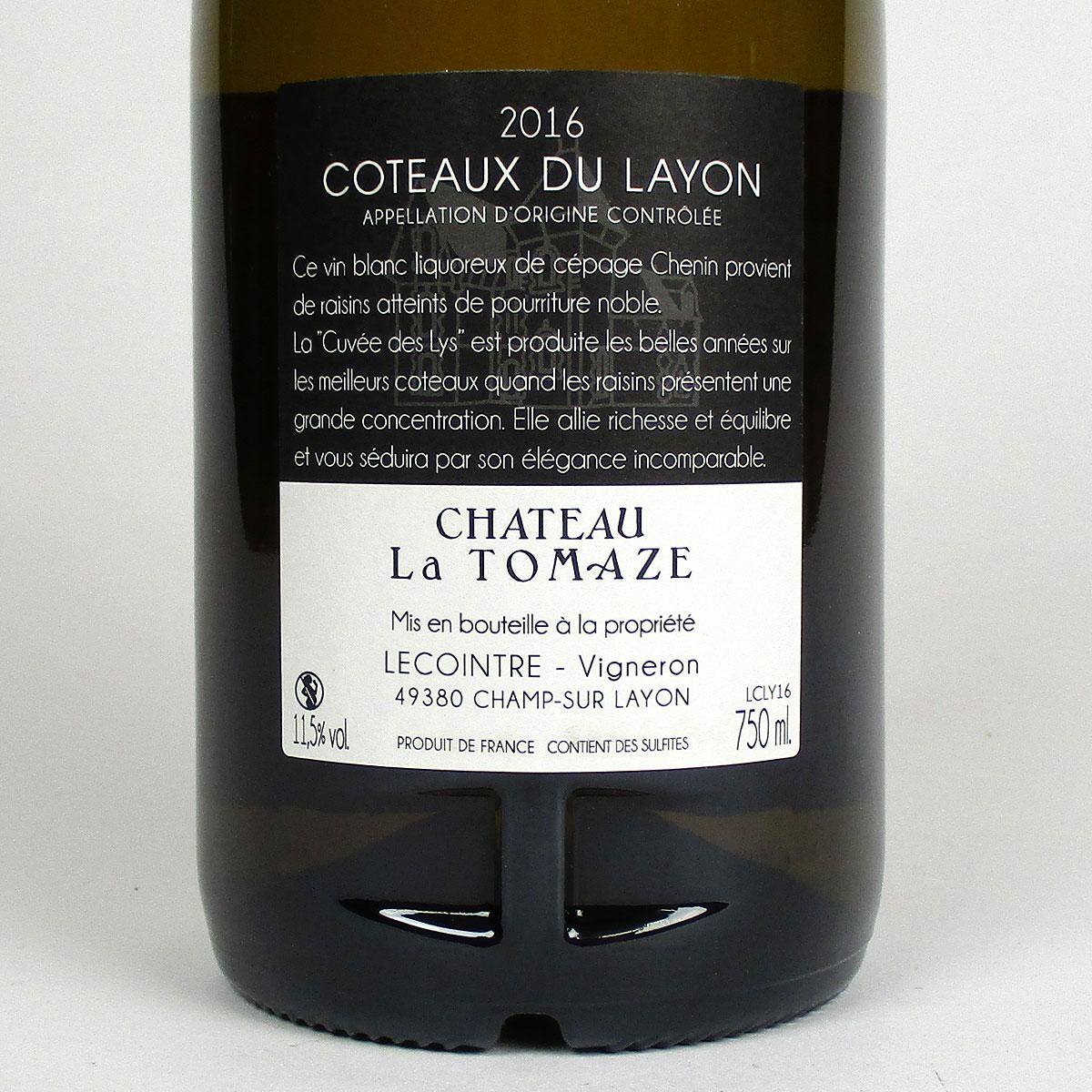 Coteaux du Layon: 'Cuvée des Lys' Château la Tomaze 2016 - Bottle Rear Label