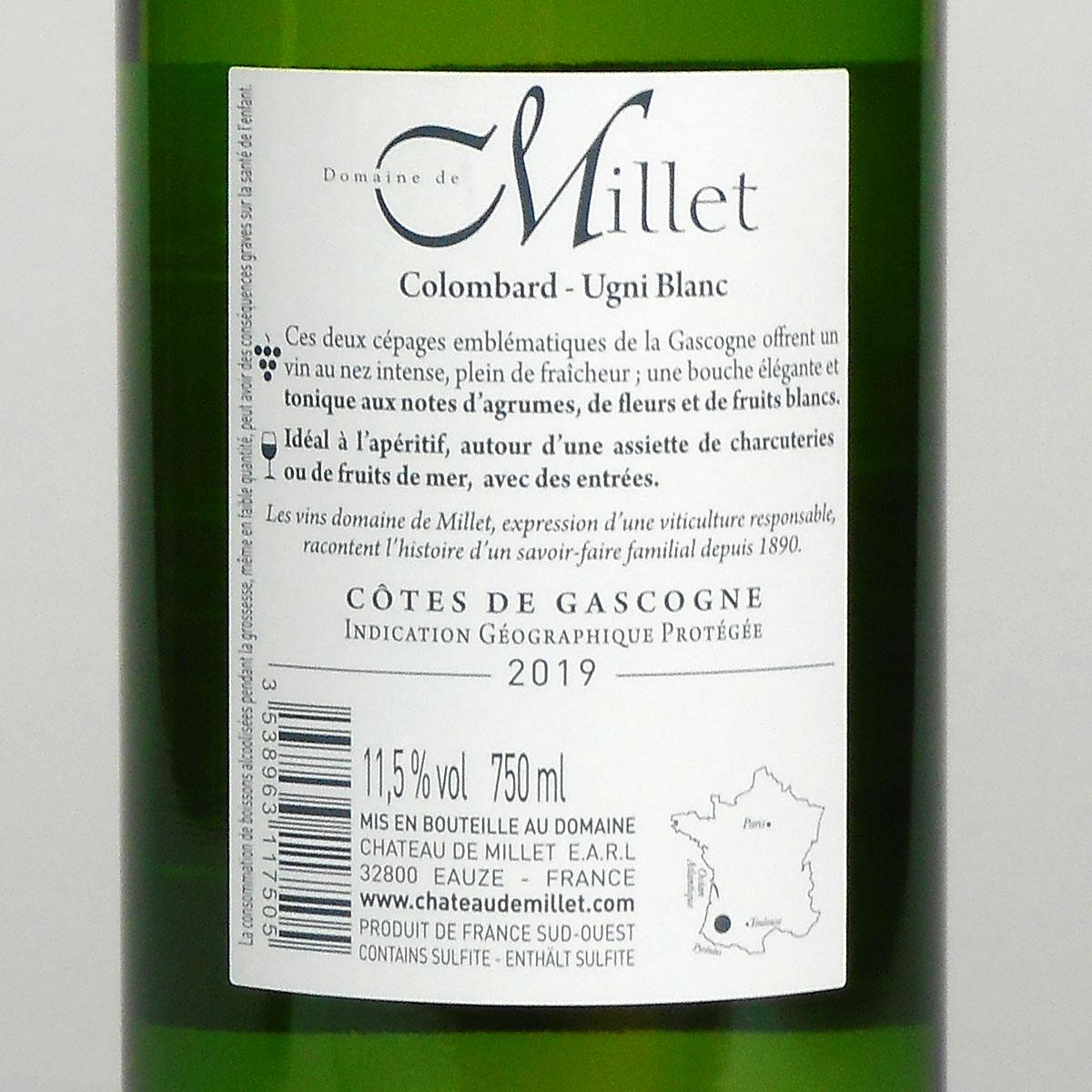 Côtes de Gascogne: Domaine Millet Colombard - Ugni Blanc 2019 - Bottle Rear Label