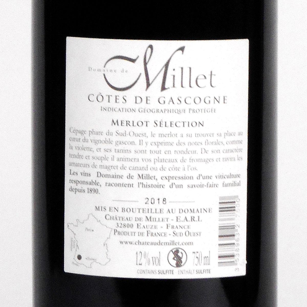 Côtes de Gascogne: Domaine Millet Merlot 2018 - Bottle Rear Label