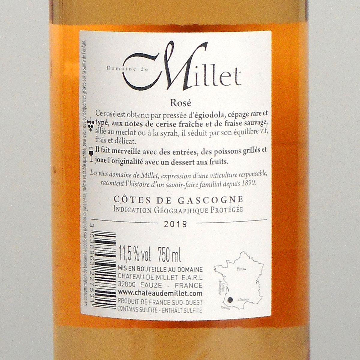 Côtes de Gascogne: Domaine Millet Rosé 2019 - Bottle Rear Label