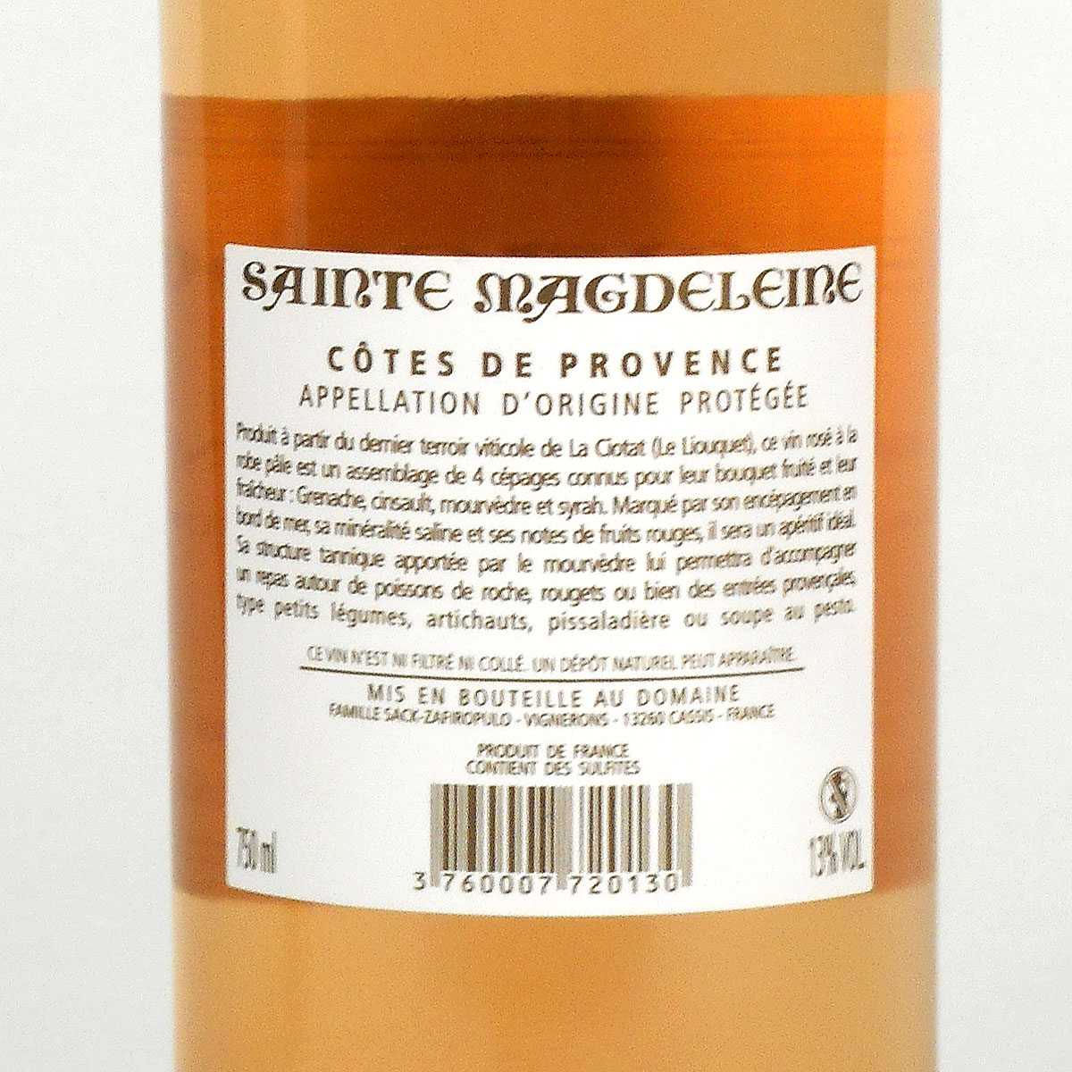 Côtes de Provence: Clos Sainte Magdeleine Rosé 2019 - Bottle Rear Label