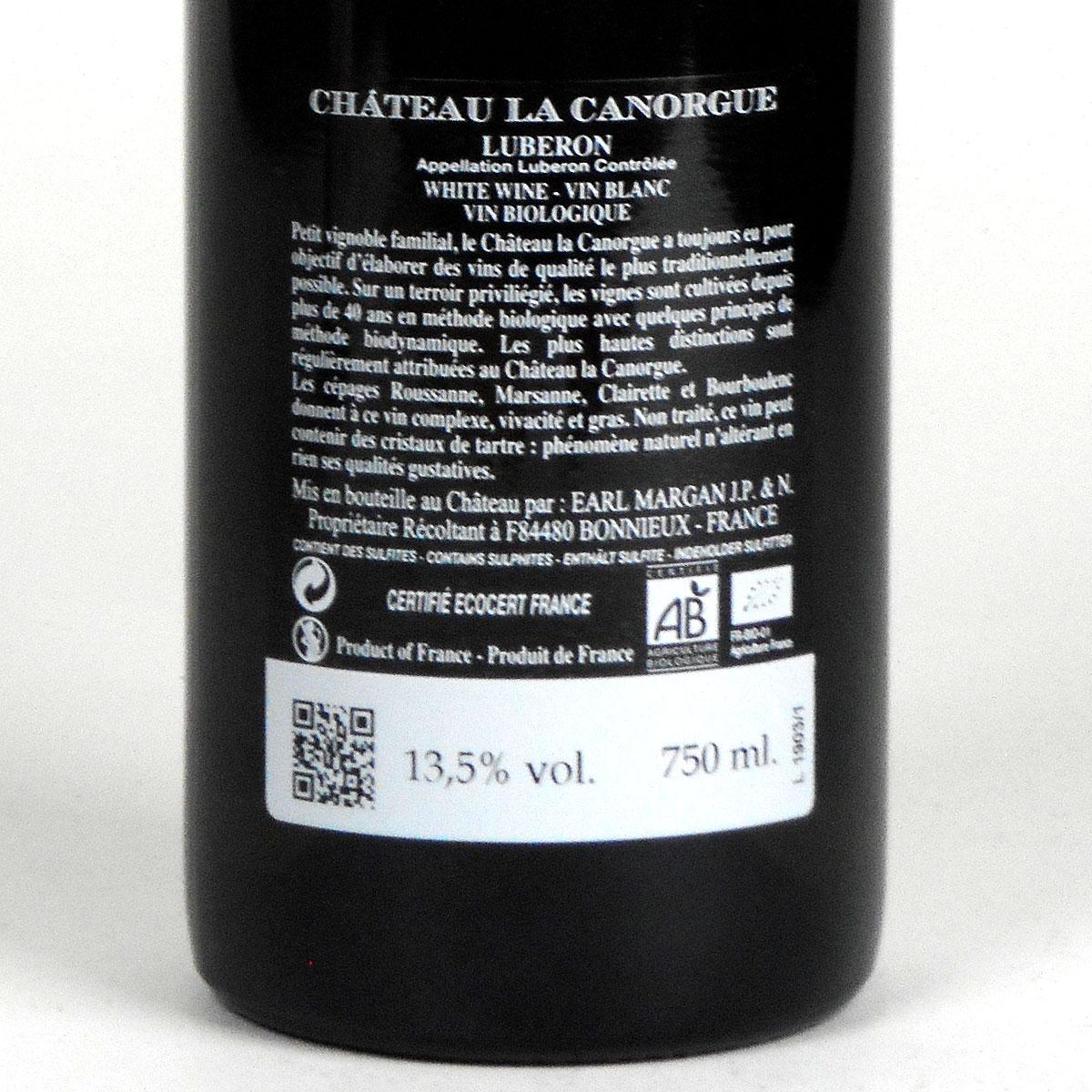Côtes du Luberon: Château la Canorgue Blanc 2019 - Bottle Rear Label