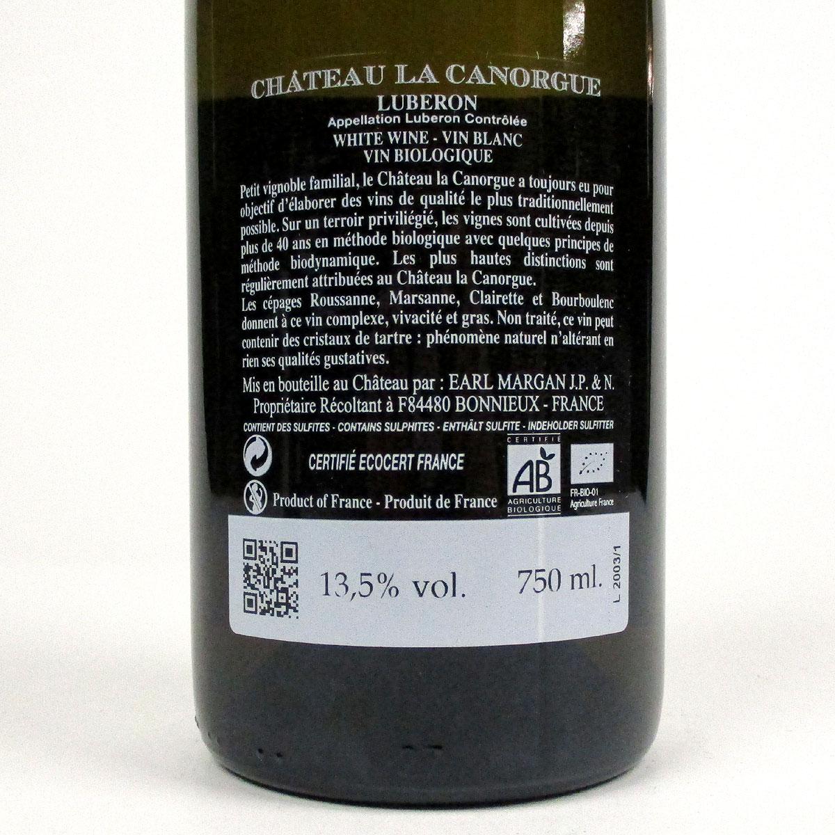 Côtes du Luberon: Château la Canorgue Blanc 2020 - Bottle Rear Label