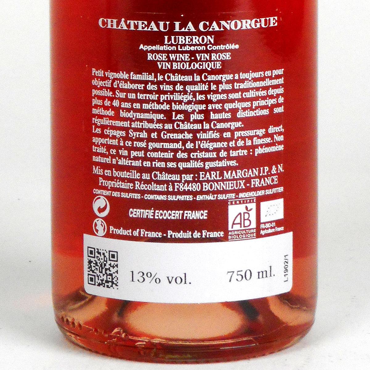 Côtes du Luberon: Château La Canorgue Rosé 2019 - Bottle Rear Label