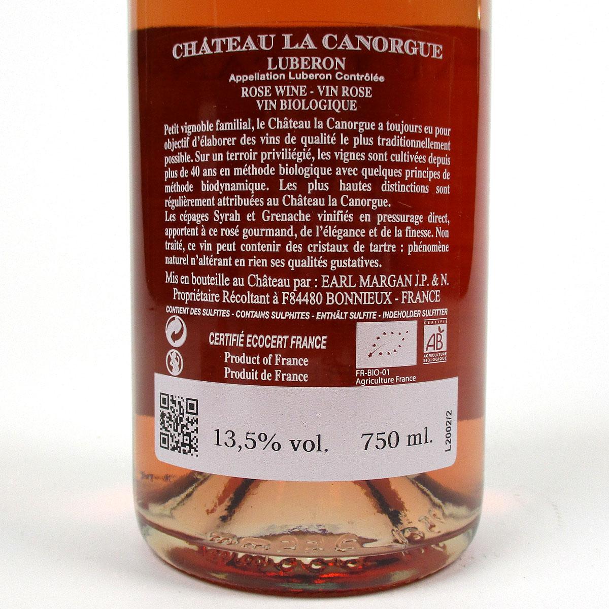 Côtes du Luberon: Château La Canorgue Rosé 2020 - Bottle Rear Label