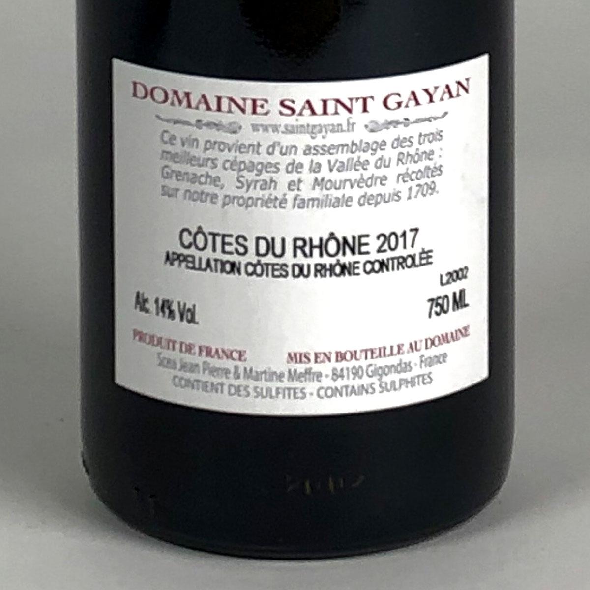 Côtes du Rhône: Domaine Saint Gayan 'Trescartes' 2017 - Bottle Rear Label