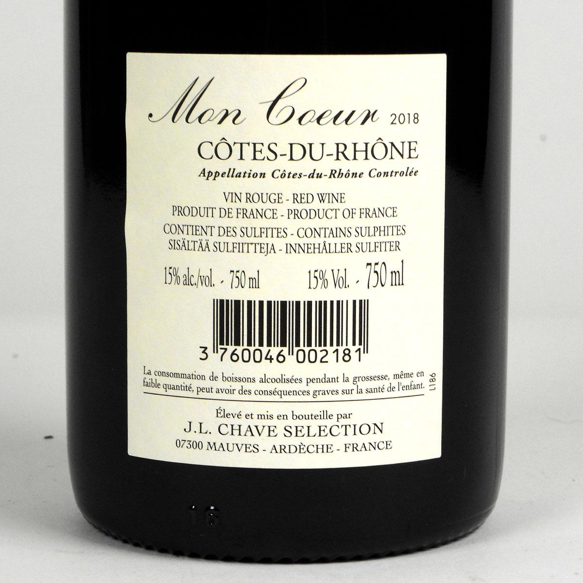 Côtes du Rhône: Jean-Louis Chave Sélection 'Mon Coeur' 2018 - Bottle Rear Label