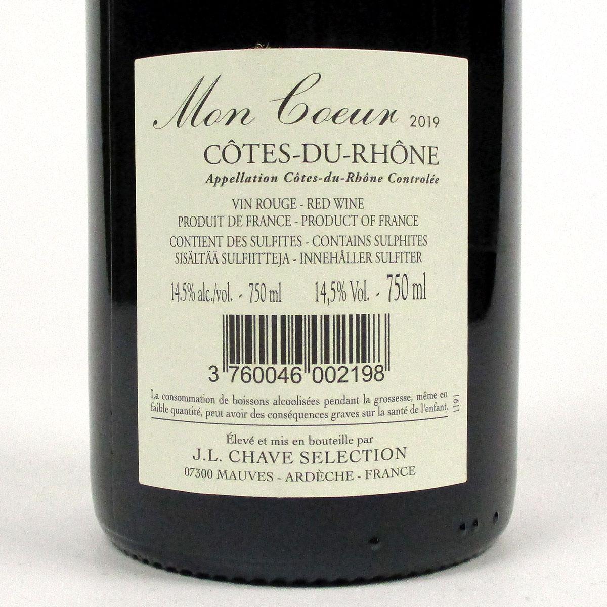 Côtes du Rhône: Jean-Louis Chave Sélection 'Mon Coeur' 2019 - Bottle Rear Label