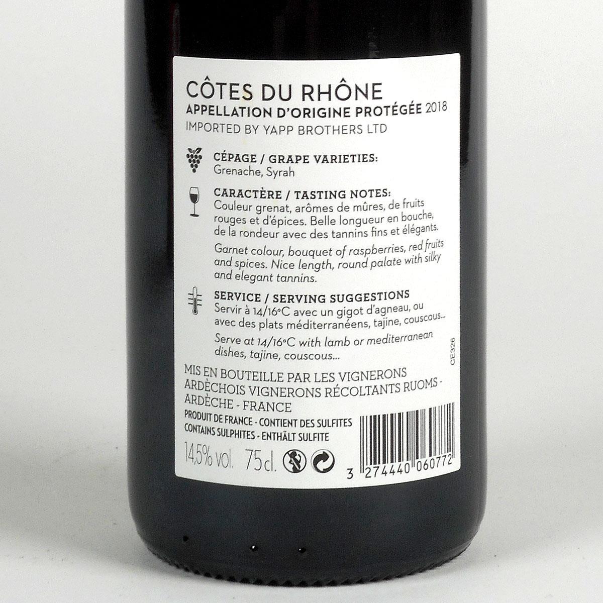Yapp Côtes du Rhône Red 2018 - Bottle Rear Label