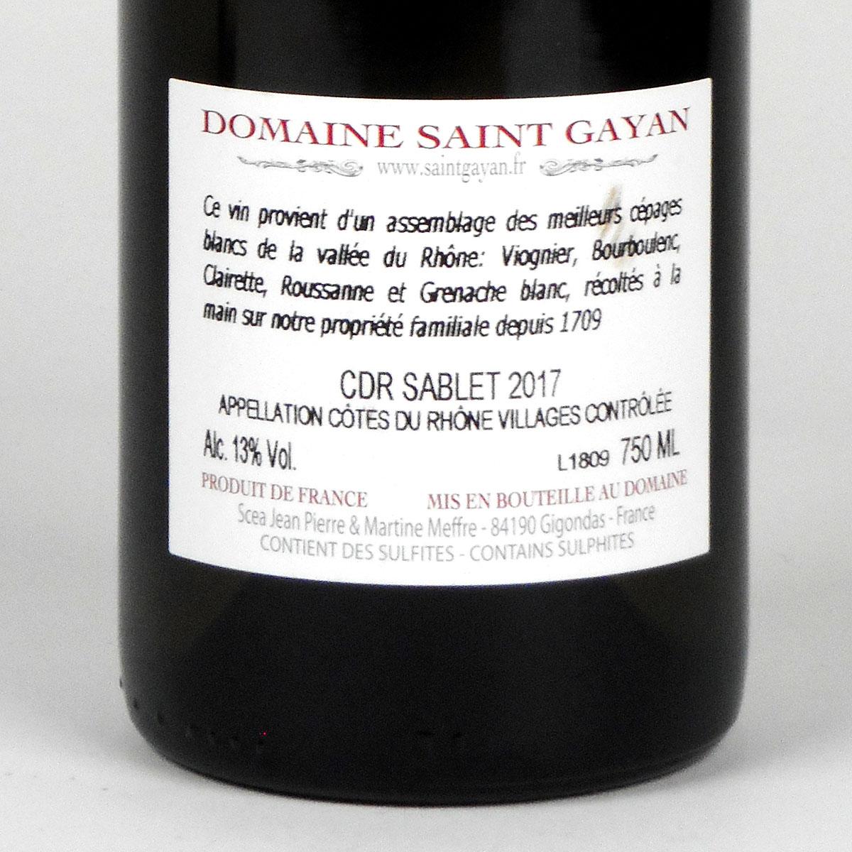 Côtes du Rhône Villages Sablet: Domaine Saint Gayan 2017