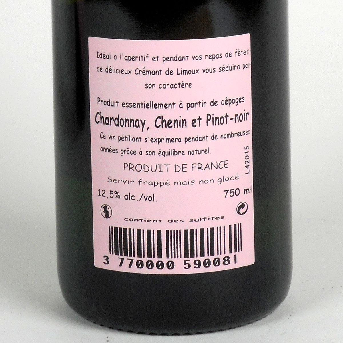 Crémant de Limoux: Domaine Collin 'Cuvée Prestige' Rosé - Bottle Rear Label