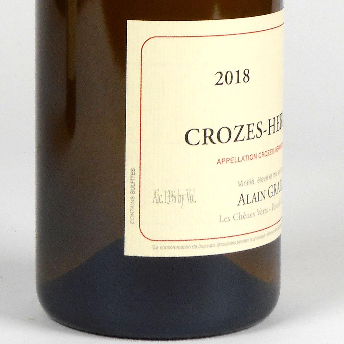 Crozes Hermitage Blanc: Alain Graillot 2018 - Bottle Side Label