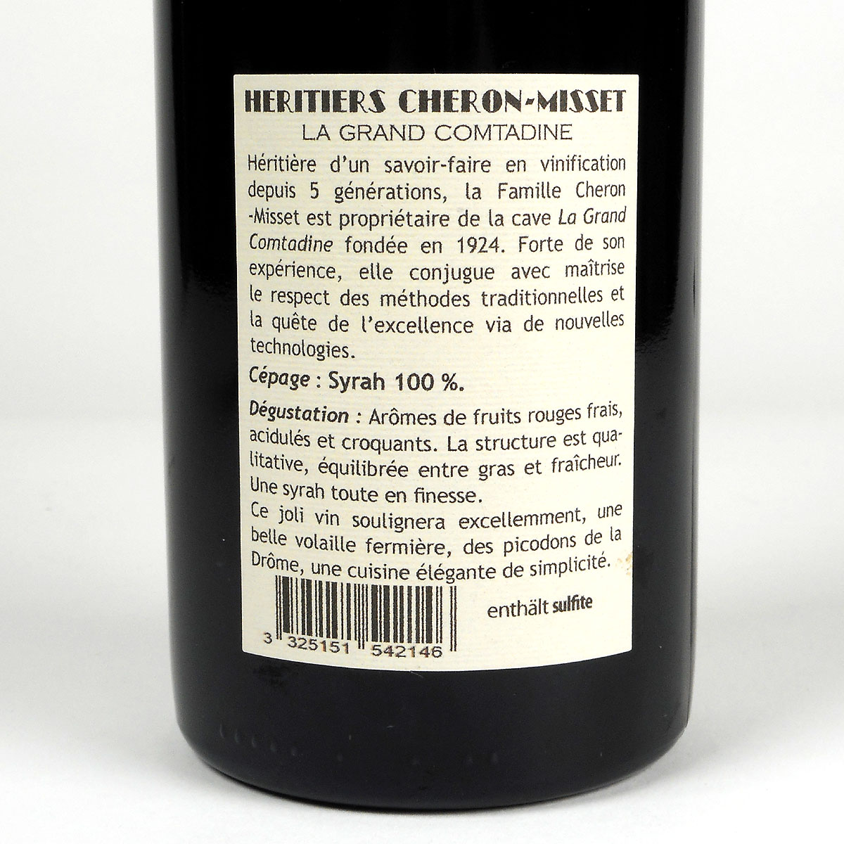 Crozes-Hermitage: Héritiers Cheron-Misset 'La Grand Comtadine' 2018 - Bottle Rear Label