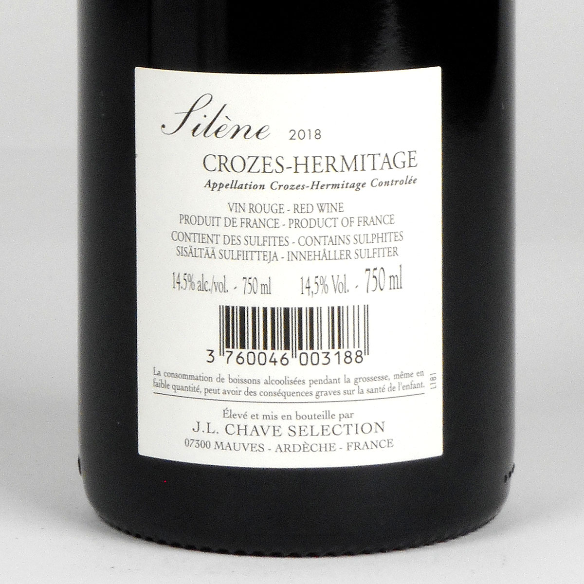 Crozes-Hermitage: Jean-Louis Chave Sélection 'Silène' 2018 - Bottle Rear Label