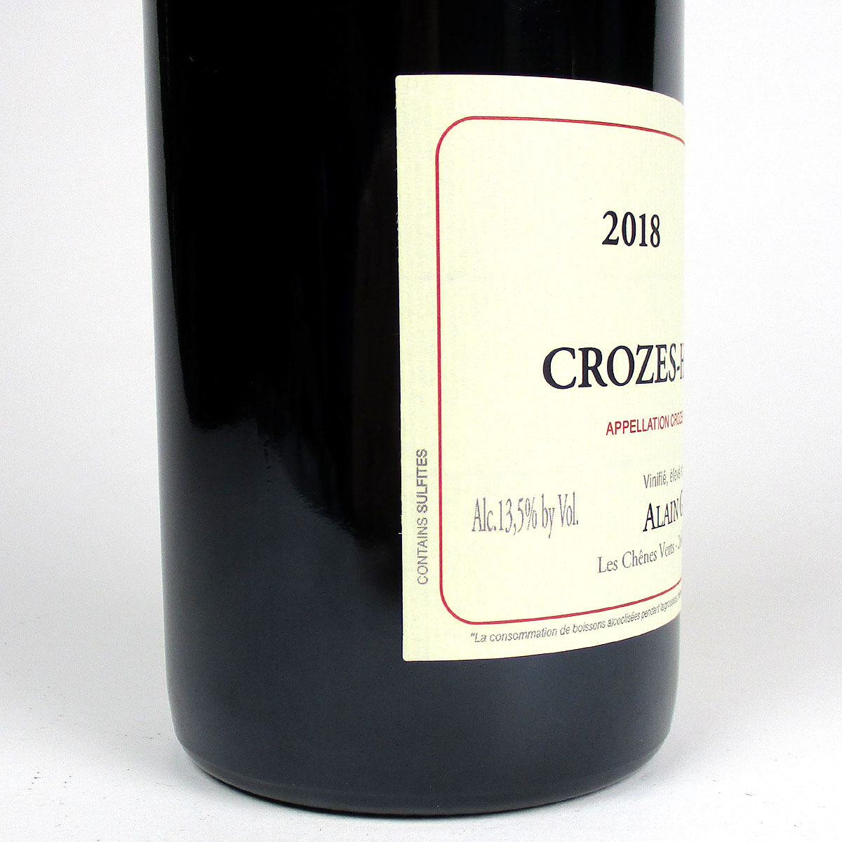 Crozes Hermitage Rouge: Alain Graillot 2018  - Bottle Side
