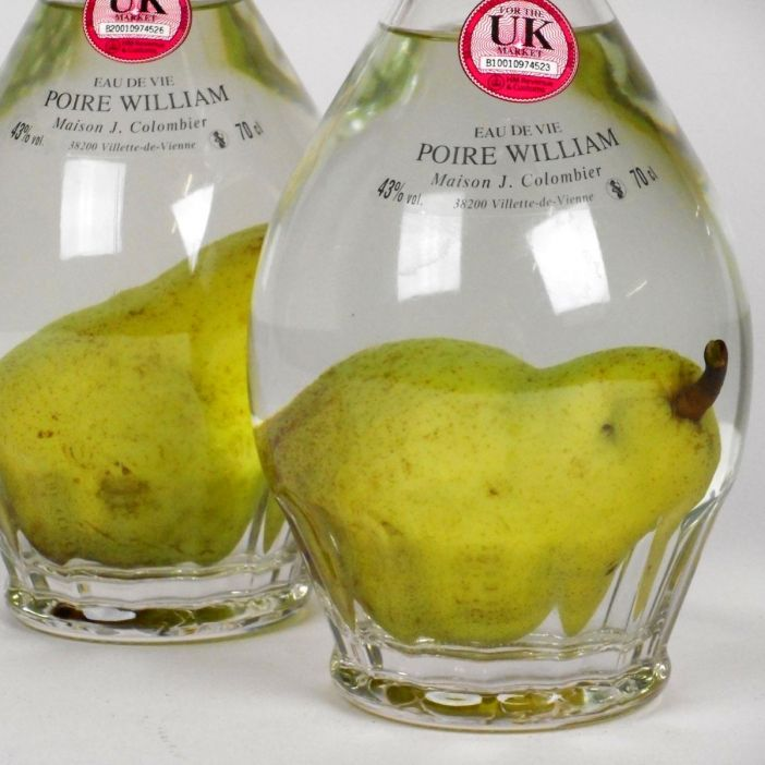 Eau de Vie de Poire William with pear in bottle: Maison J Colombier