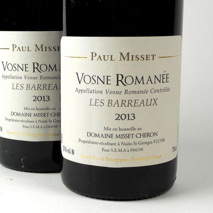 Vosne Romanée: Domaine Misset-Cheron 'Les Barreaux' 2013