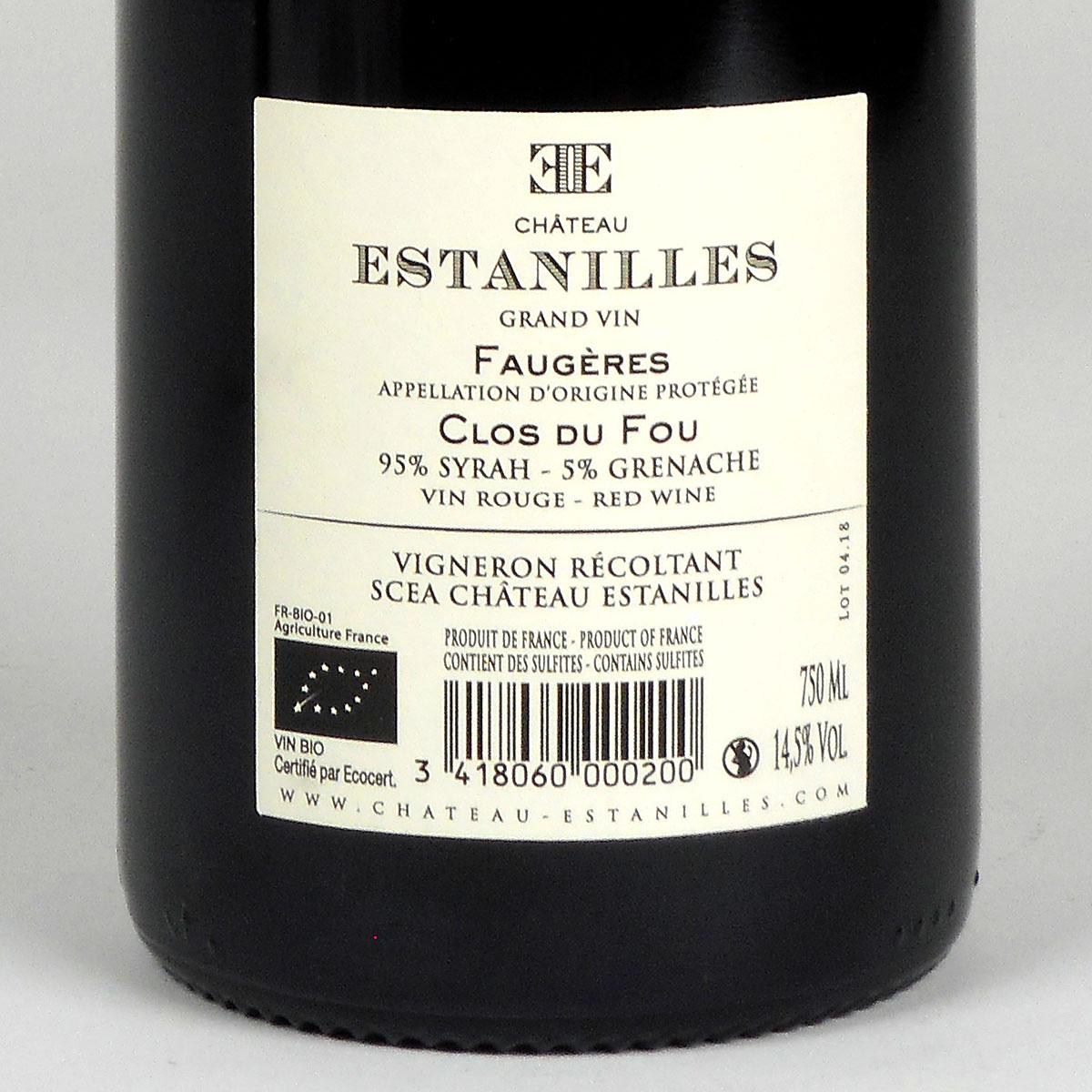 Faugères: Château Estanilles 'Clos du Fou' Rouge 2016 - WIne Bottle Rear Label