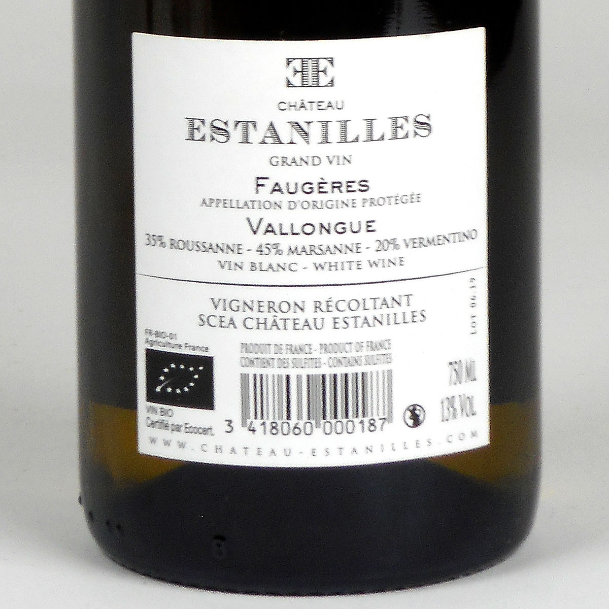 Faugères: Château Estanilles 'Vallongue' Blanc 2018 - Wine Bottle Rear Label