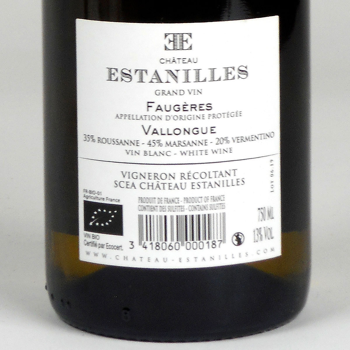 Faugères: Château Estanilles 'Vallongue' Blanc 2019 - Bottle Rear Label