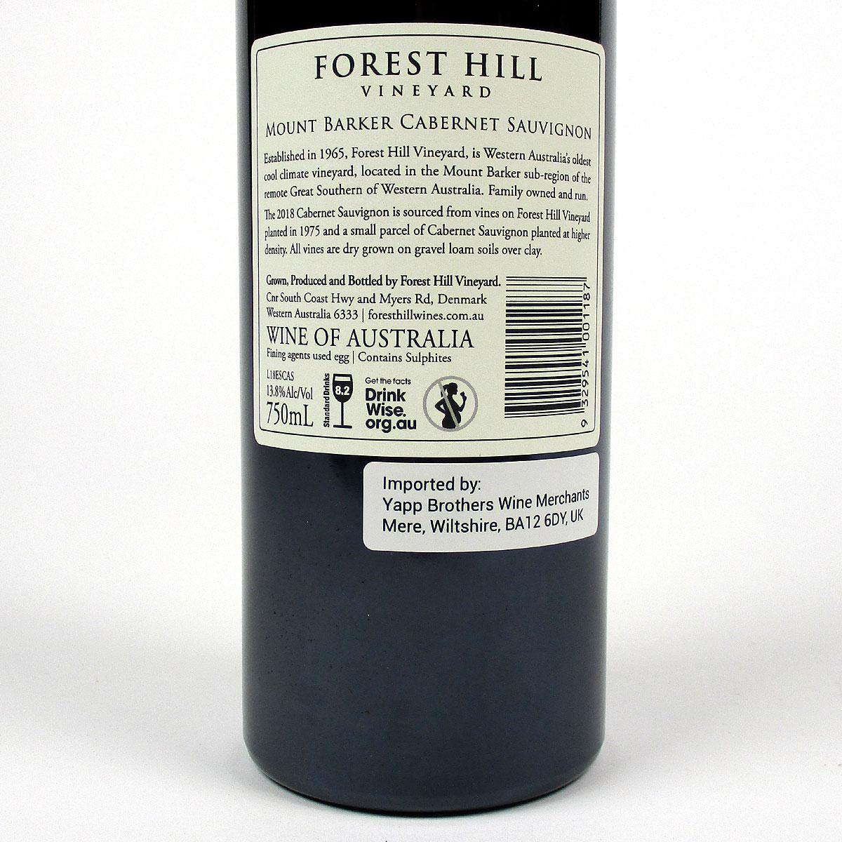 Forest Hill Vineyard: 'Estate' Cabernet Sauvignon 2018 - Bottle Rear Label
